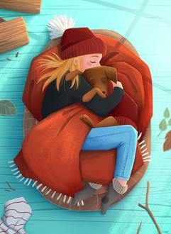girl-dog-love-snuggling-illustration