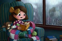 kid-reading-books-rain-illustration
