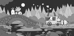 black-white-cart-forest-illustration