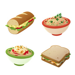 food-egg-sandwich-pasta-illustration