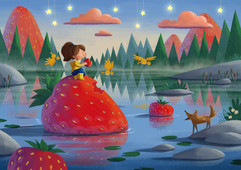 kid-dream-strawberries-illustration