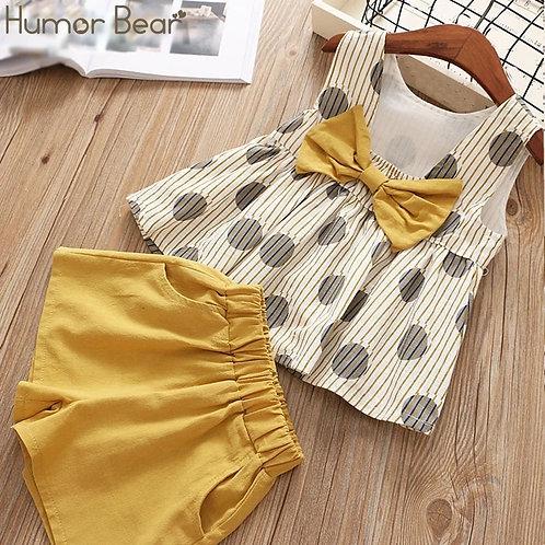 Humor Bear  New Girl-Dot Girl Big Bow T-Shirt+ Shorts