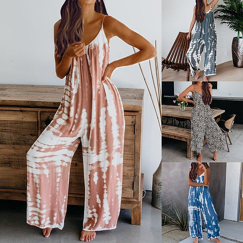 New Women Jumpsuits Cargo /  Loose Long Wide Leg Playsuits / Sleeveless Clothing