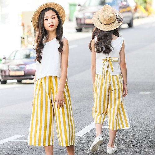 Casual Clothing Set-Sleeveless Top / Stripes Wide-Leg Pants Outfits 2Pcs