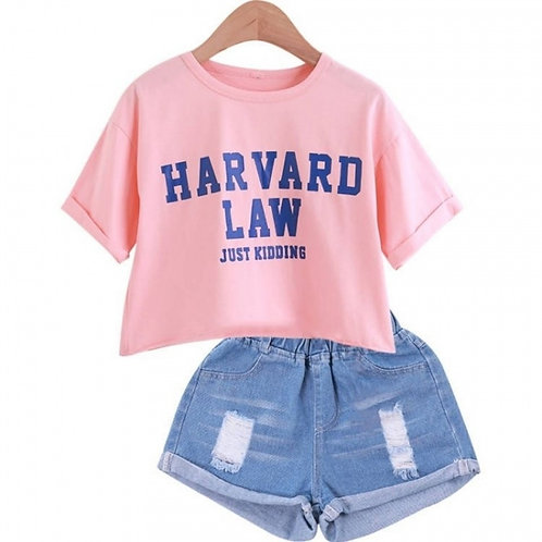 2021 Girls Short Sleeve T-Shirt + Jeans Shorts