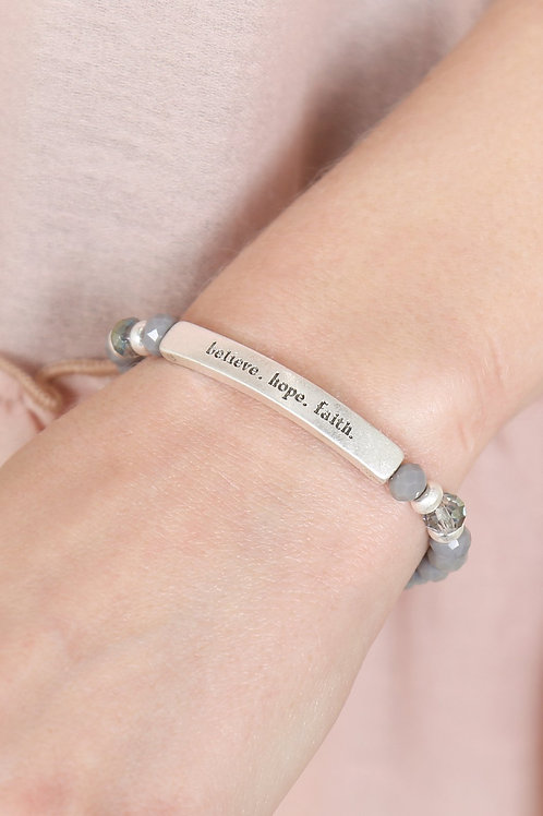 "83593 - ""Believe, Hope, Faith"" 6mm Glass Beads Stretch Bracelet"