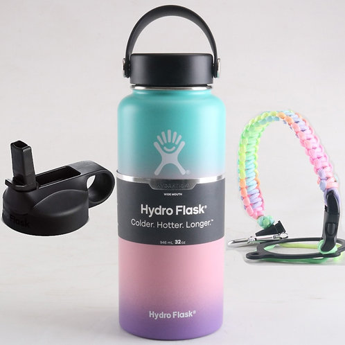 Stainless Steel Wide Mouth Hydroflask W/ Flex Cap and Straw Lid 18/32/40oz