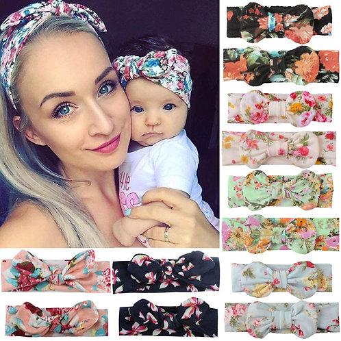 2PCS Mama & Baby Headwear Bowknot Elastic Head Bands