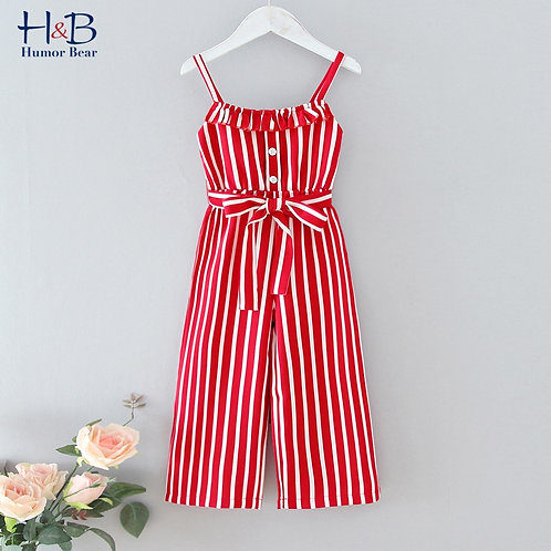 Humor Bear Girls Jumpsuit- Striped  Overalls