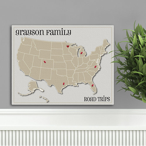 Family Travel Map Canvas Sign - Heart at Home