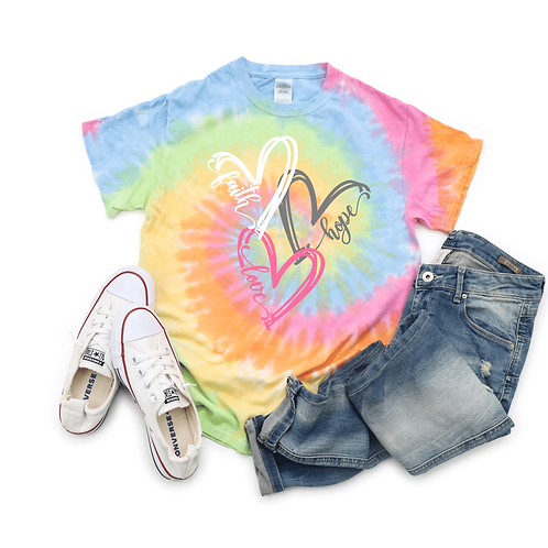 Tie Dye Faith Hope Love Heart T-Shirt