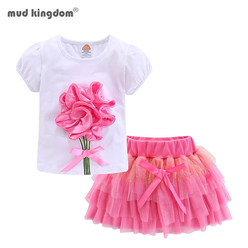 Mudkingdom Cute Girls Outfits Boutique 3D Flower Lace Bow / Tulle Tutu Skirt