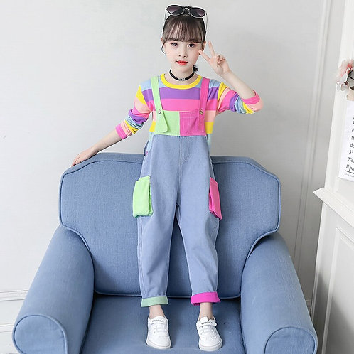 Cute Girls Denim Jumpsuit 4 5 6 7 9 11 12 Years Girl 2pcs Sets
