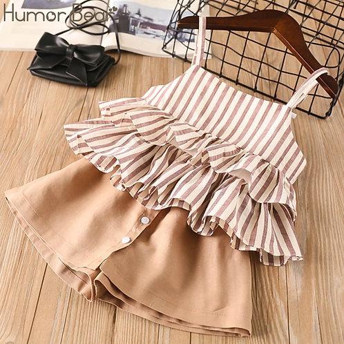 Humor Bear Girls Striped Skirt / Culottes Sets
