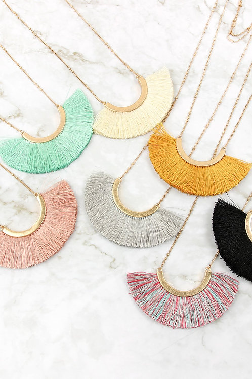Layered Necklace With Tassel Fan Pendant
