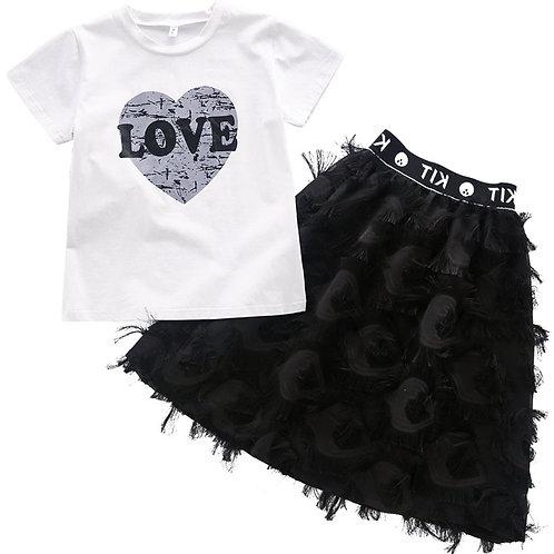 Teen Girls 2 Pcs -White Heart Print T-Shirt + Skirts