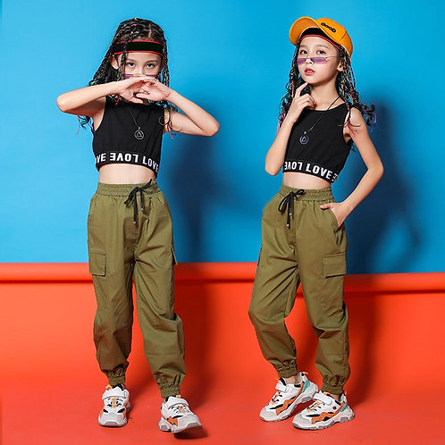 Girls Hip Hop Black Top Crop/Running Pants  8 10 12 14 16 Years