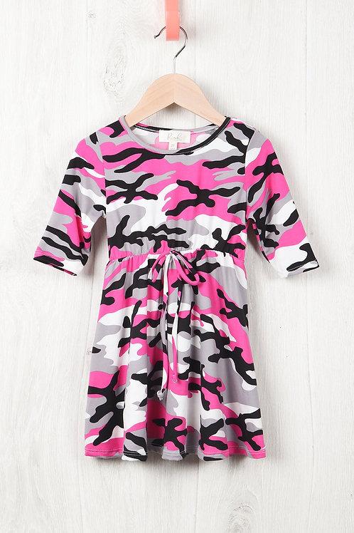 Toddler Girls Quarter Sleeved Cinch Waist Self Tie Front Camo Dress