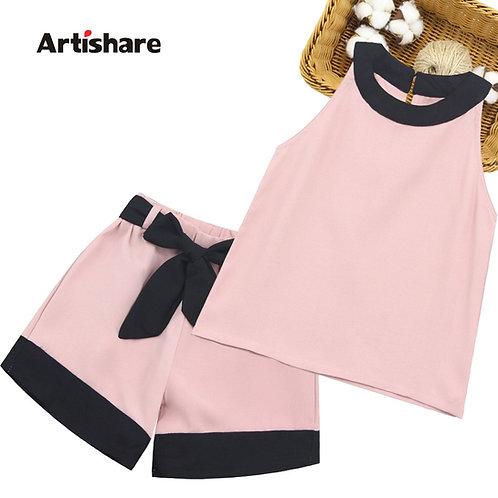 Girls Patchwork Girls Clothes Set Vest + Short 2PCS Outfits