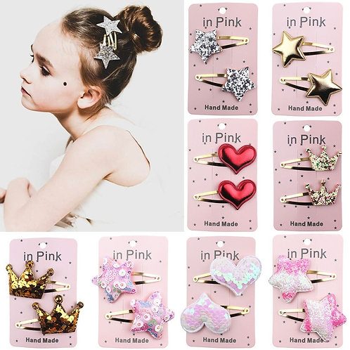 2pcs/Set Lovely Hair Clips Sequins Barrettes Alloy Pins Grips