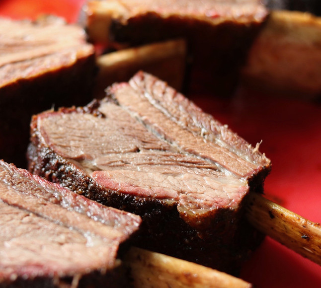 Beef ribs with layered dry rubs