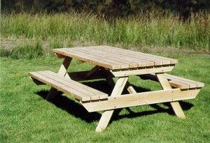 Table jardin bois massif table douglas hors aubier table extérieure avec bancs pique nique Ambiance Bois mobilier fabrication française