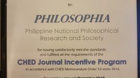 Philosophia - CHED JIP Awardee 2017