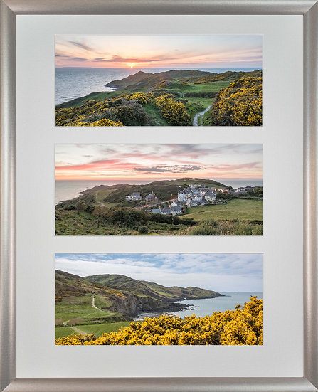 Silver Metallic Framed Triple Mounted Picture - Mortehoe 1