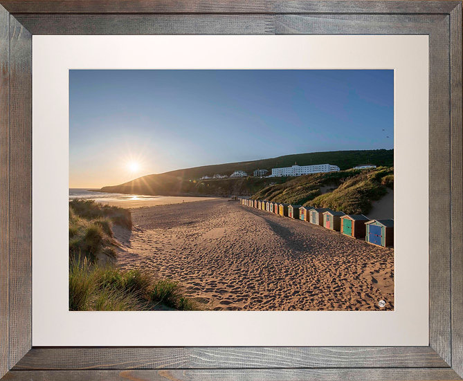Rustic Wood Framed Picture - 400 x 500mm - Saunton Sunset