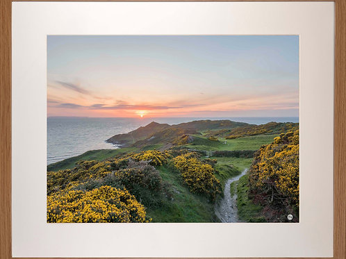 Wood Framed Picture - 400 x 500mm - Sunset over Morte Point