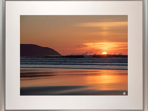 Silver Metallic Framed Picture - 400 x 500mm - Fire and Water at Baggy Point