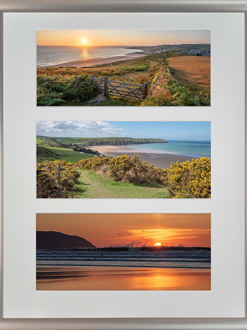 Silver Metallic Framed Triple Mounted Picture - Golden Woolacombe