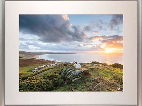 Silver Metallic Framed Picture - 400 x 500mm - Poppy Overlooking Woolacombe