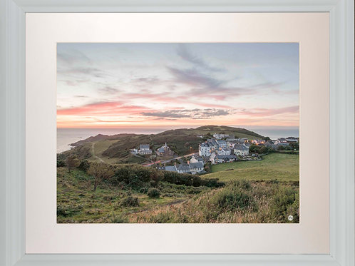 White Framed Picture - 400 x 500mm - Mortehoe Dusk