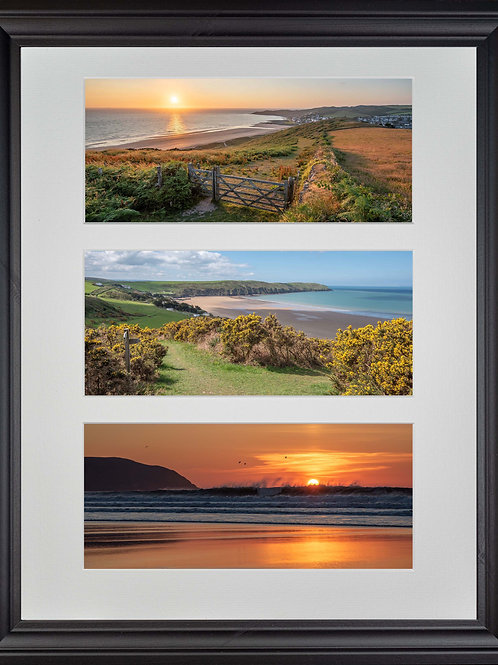 Black Wood Framed Triple Mounted Picture - Golden Woolacombe
