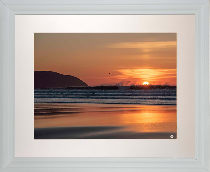 White Framed Picture - 400 x 500mm - Fire and Water at Baggy Point