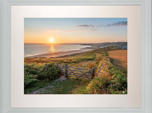 White Framed Picture - 400 x 500mm - Golden Sunset from Woolacombe Down