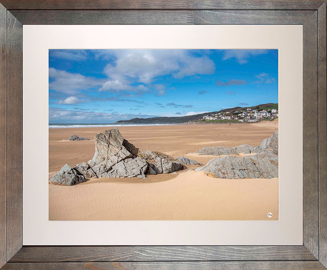 Rustic Wood Framed Picture - 400 x 500mm - Woolacombe from Mill Rock