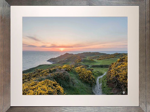 Rustic Wood Framed Picture - 400 x 500mm - Sunset over Morte Point