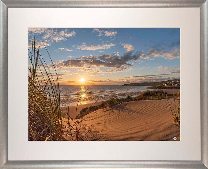 Silver Metallic Framed Picture - 400 x 500mm - Golden Patterns