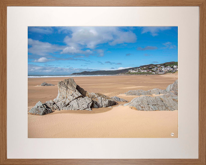Wood Framed Picture - 400 x 500mm - Woolacombe from Mill Rock
