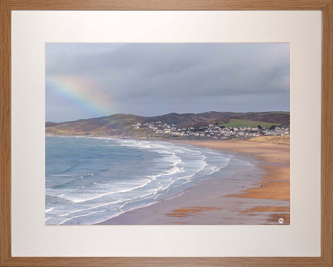 Wood Framed Picture - 400 x 500mm - Rainbow on Golden Beach