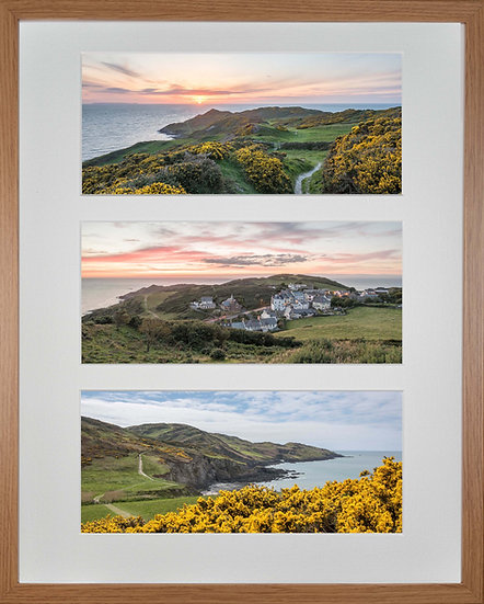 Wood Framed Triple Mounted Picture - Mortehoe 1