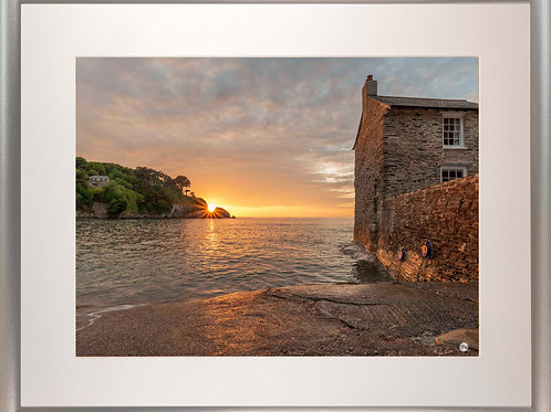 Silver Metallic Framed Picture - 400 x 500mm - Sunset Over Lee from Mill House