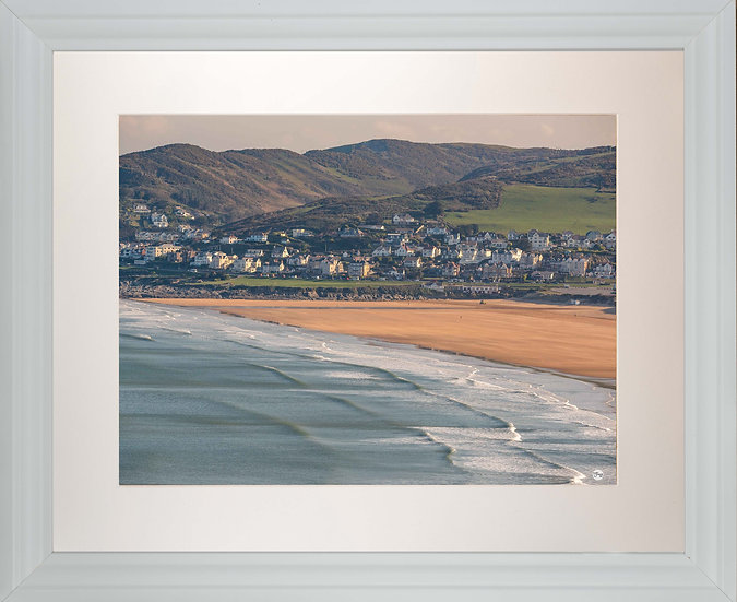 White Framed Picture - 400 x 500mm - Good Morning Woolacombe from Baggy