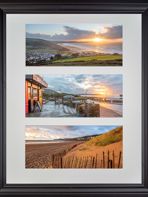 Black Wood Framed Triple Mounted Picture - Golden and Red Woolacombe