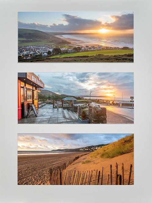 Triple Mounted Picture - Golden and Red Woolacombe