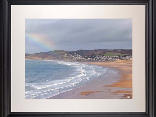 Black Framed Picture - 400 x 500mm - Rainbow on Golden Beach
