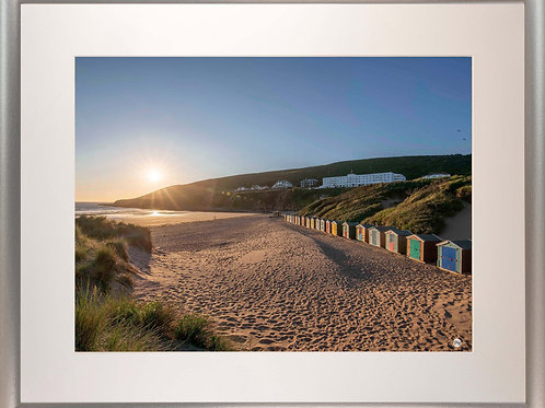 Silver Metallic Framed Picture - 400 x 500mm - Saunton Sunset