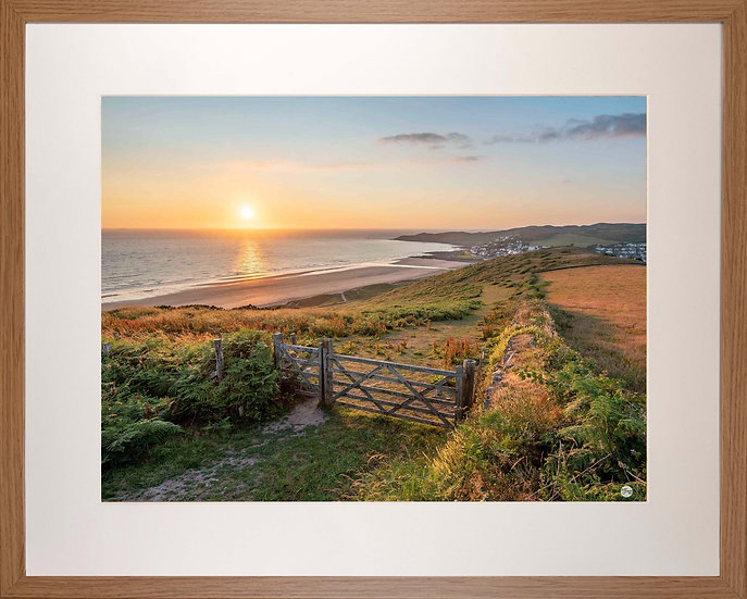Wood Framed Picture - 400 x 500mm - Golden Sunset from Woolacombe Down